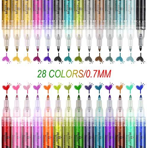 Etmury 28 Farben Acrylstifte Marker Stifte, 0.7mm Acrylfarben Wasserfest Marker Holz Stift Farbe für Steine Bemalen, Holz, Leinwand, Fotoalbum, Glas, Metall