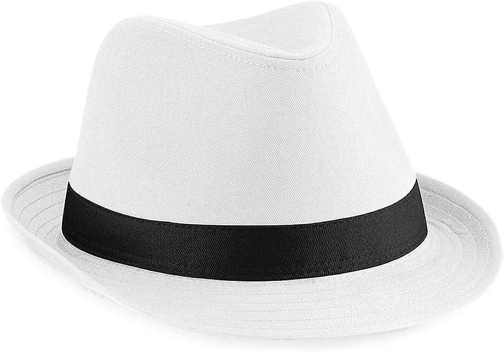 Beechfield Fedora Unisex Hat Black or White - White/Black - LXL