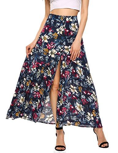 Zeagoo Women's Bohemian Style Split Front Button Floral Print Maxi Beach Skirt Black S