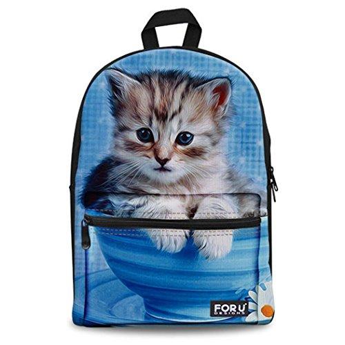 Rucksack mit niedlichem Katzen-Motiv Erwachsene Damen Herren Canvas Schulrucksäcke Schulranzen Sporttasche Backpack Freizeitrucksack für Outdoor Camping 3F00 ONE Size
