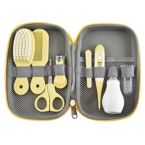 OurLeeme Baby Care Tool Kit, 8 in 1 Baby Kinder Nagelpflege Set mit Nagelknipsern, Schere, Nasenreiniger, Thermometer, Haarbürste, Maniküre (Gelb)