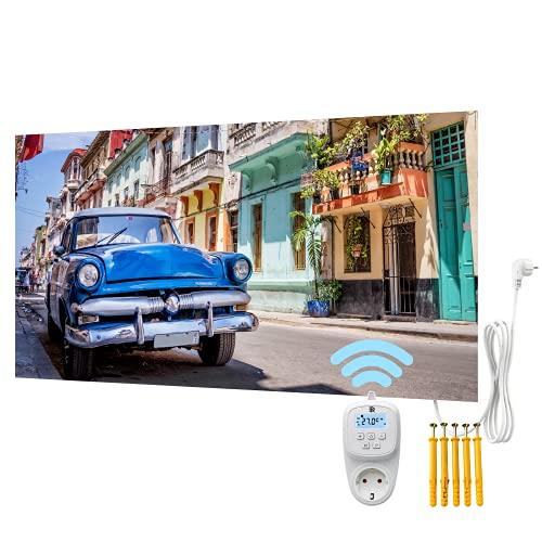 Bringer Bild Infrarotheizung rahmenlos - Bildheizung mit UV Druck - 120x60x1,8cm - Havanna, Kuba
