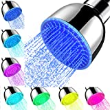 Shower Head With Lights, High Pressure 7 Color Changing Led Rainfall Shower Head, LED Fixed ShowerHead for Bathroom, Luxury Chrome Flow Rain ShowerHead Angle-adjustable for Kids Adult