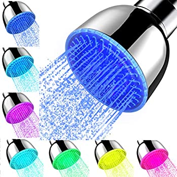 Shower Head With Lights High Pressure 7 Color Changing Led Rainfall Shower Head LED Fixed ShowerHead for Bathroom Luxury Chrome Flow Rain ShowerHead Angle-adjustable for Kids Adult