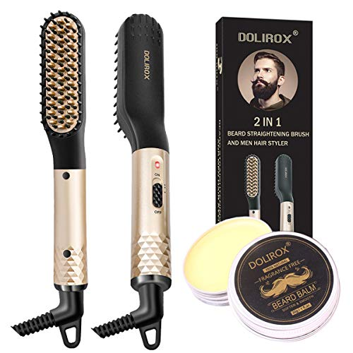 Beard Straightener for men, Multifunctional Hair Styler Electric Hot Comb with Beard Balm and Beard...