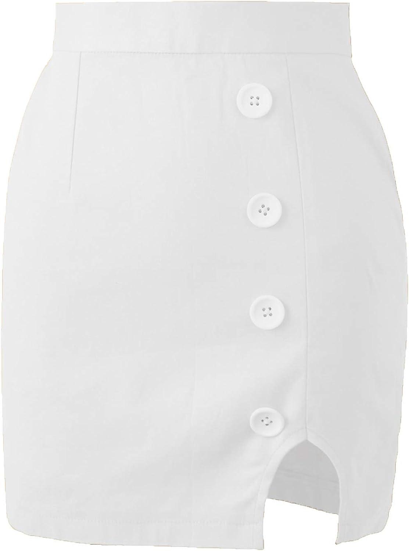 renvena Womens Casual High Waist Button Front Bodycon Wrap Side Split Zipper Back Solid Mini Skirt