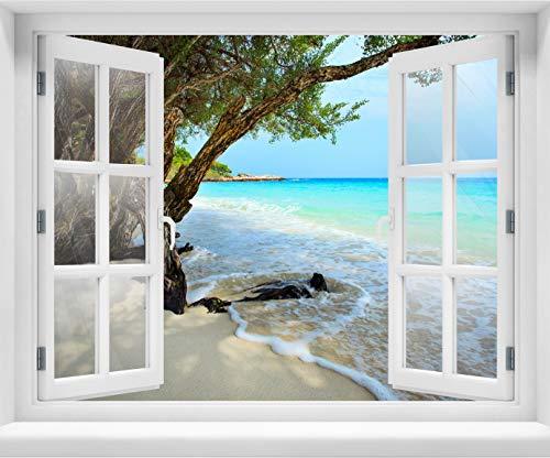 wandmotiv24 3D-Wandsticker Ruhiger und friedlicher Strand. Provinz Rayong, Design 03, 90x70cm (BxH), Aufkleber Wand-deko, Wandbild, 3D Effekt, Fenster, Mauer, Wandaufkleber, Sticker M0899