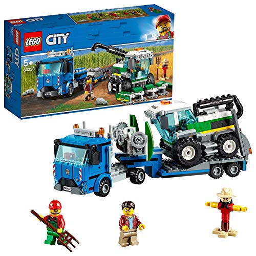 LEGO City Great Vehicles - Transporte de la Cosechadora, Juguete Creativo de Construcción y Aventuras con Tractor y Camión de Transporte (60223)