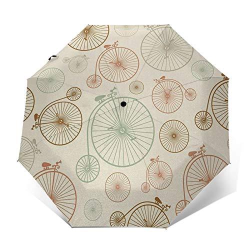 Paraguas Plegable Automático Impermeable Bicicletas Ruedas Indie, Paraguas De Viaje Compacto a Prueba De Viento, Folding Umbrella, Dosel Reforzado, Mango Ergonómico