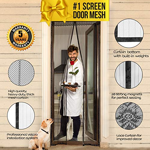 Lazy Monk Magnetic Screen Door with Magnet Closure I Doorway Mosquito Net Bug Mesh   Pet Friendly Patio Insect Screen Curtain Cover I Upgraded Version up to 39' x 82' Max anti Moskito & Fly