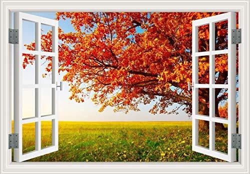 3D-Fenster natürliche vier Jahreszeiten Morgen Landschaft Wald Sonnenaufgang Sonnenschein Wald Grasland Himmelgrüner Baum Wandaufkleber Aufkleber PVC Poster Wandbild Schlafzimmer Wohnkultur