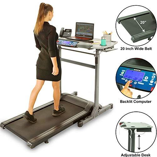 """Exerpeutic 5000 ExerWork 20"""" Wide Belt Desk Treadmill with Adjustable Desktop Height, 325 lbs Capacity"""