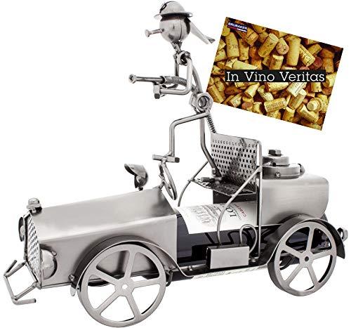 BRUBAKER Portabotellas de vino con diseño de camión de bomberos con bombero - escultura de metal con tarjeta de felicitación