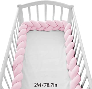 Wonder Space Soft Knot Plush Pillow - Baby Crib Bumper, Fashion Nursery Cradle Decor for Baby Toddler and Childern (Pink, 78.7IN / 2M)