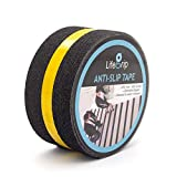 LifeGrip Anti Slip Traction Tape with Reflective Stripe, Best Grip, Friction, Abrasive Adhesive for Stairs, Safety, Tread Step, Indoor, Outdoor, Black (2' X 30')