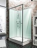 Cabine de douche complète Corsica 120 x 80 cm, cabine de douche intégrale avec porte coulissante, parois fixes, receveur, panneaux muraux et robinetterie, ouverture vers la gauche