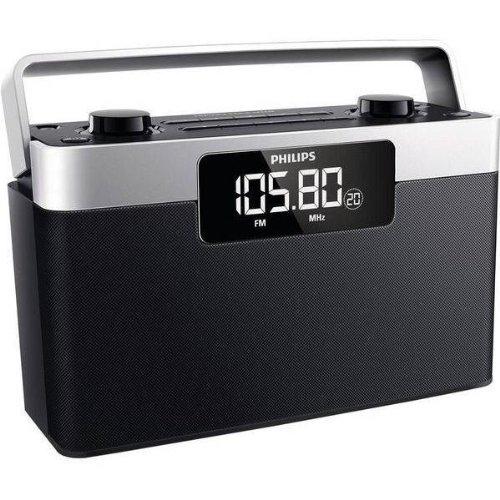 Philips AE2430 Radio FM Portable avec Prise Casque, Grand écran LCD, Horloge Intégrée, Batterie ou Piles (4xLR14)