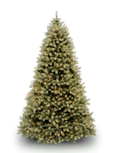 "National Tree 7.5 Foot""Feel Real"" Downswept Douglas Fir Tree with 750 Dual Color LED Lights and On/Off Switch, Hinged (PEDD1-312LD-75X)"