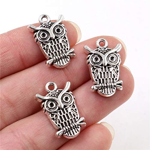 GMYANED 23X15Mm 12Pcs Antique Silver Plated Owl Handmade Charms Pendant