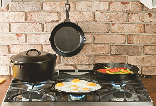 Lodge Pre-Seasoned Cast Iron Reversible Grill/Griddle, 16.75 In, Black