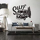 Adhesivo de pared, 57x67cm, calcomanía de pared moderna Surf The Wave con autocaravana, autoadhesivo para pared, auto antiguo, auto, auto, mural de pared, vinilo, autocaravana, póster de pared