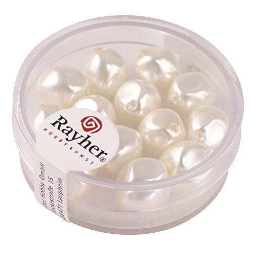 Rayher 14409102 Renaissance-Perle, 9 mm ø, Dose 13 Stück, weiß