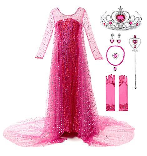 JerrisApparel Fiesta Maxi Vestido de Princesa niña Disfraz Cosplay con Diamante (110, Rosa con Accesorios)