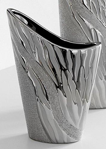 Gilde Vaso Moderno per Fiori, Decorativo, in Ceramica, Argento, 28 cm