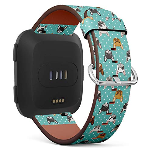 French Bulldog on Turquoise Polka dot Background - Patterned Leather Wristband Strap Compatible with Fitbit Versa