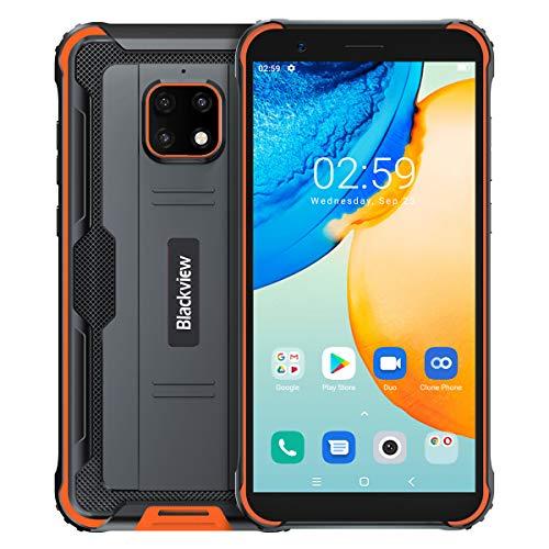 【2021】 Blackview BV4900 Pro Outdoor Smartphone Ohne Vertrag, IP68 Robust Handy Android 10, 4GB RAM 64GB ROM 256GB Erweiterung, 5MP+13MP wasserdichte Kamera, NFC, 5580mAh Akku Reverse Charge Orange