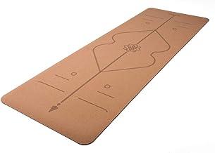 Yamkas Yogamat van Kurk & natuurlijk Rubber Alignment Mat • 183 x 61 x 0,4 cm • Kurkmat milieuvriendelijk • Antislip Matte...