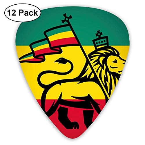 Guitar Picks - Abstract Art Colorful Designs,Judah Lion With A Rastafari Flag King Jungle Reggae Theme Art Print,Unique Guitar Gift,For Bass Electric & Acoustic Guitars-12 Pack
