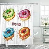 Not applicable Duschvorhang Blau Aquarell von Donuts jeweils auf separater Schicht Bunte Kuchen Duschvorhänge Sets mit Haken,72X72 In