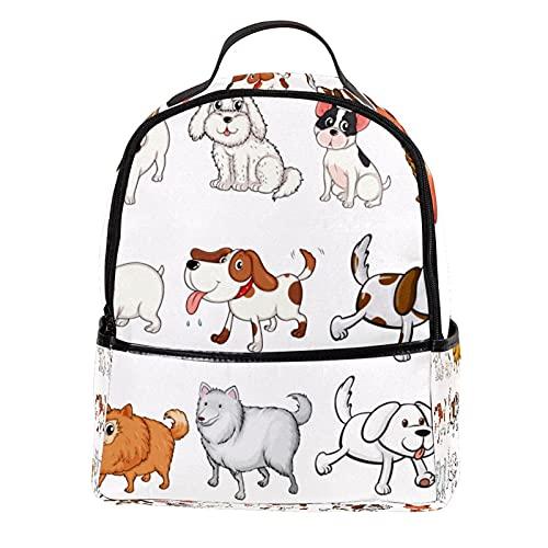 ATOMO Mini mochila casual diferentes razas de perros pu cuero viaje compras bolsas Daypacks