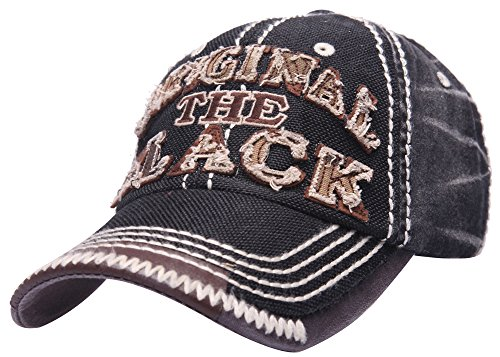 Homme Distressed d'origine du Noir Chapeau Cuir Snapback Trucker Base-ball Chapeau (noir)