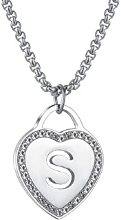 CALIS Women's Silver Initial Necklace Stainless Steel Love Heart Tiny Letter Necklace Personalized Name Jewelry for Girlfriend Gift 26 Alphabet Letters
