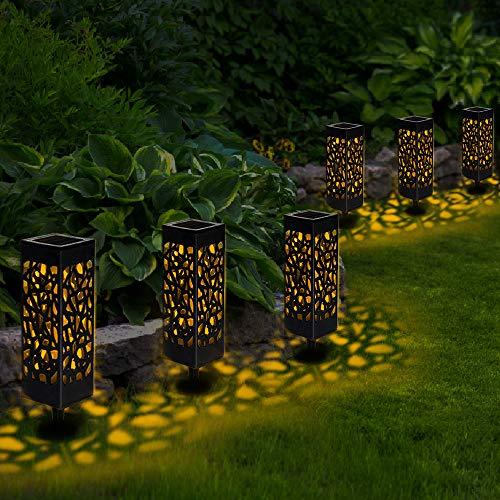 6 Pcs Farol Solar Exterior Jardin, LED Lámpara Solar Jardín Luz Solar Exterio para Camping, Jardín, Patio, Terraza, Camino