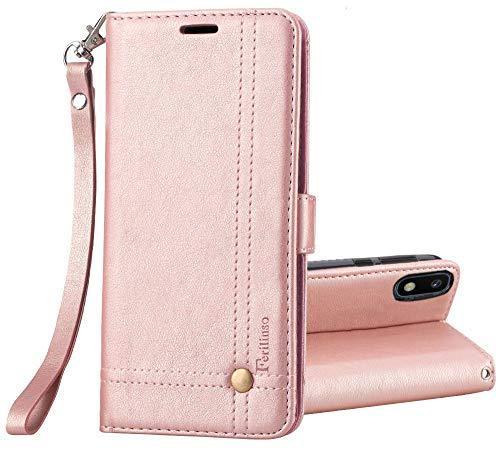 Ferilinso Cover per Samsung Galaxy A10, Custodia Cover Pelle Elegante retrò con Custodia Slot Holder per Carta di Credito Custodia di Chiusura Magnetica per Flip (Oro Rosa)