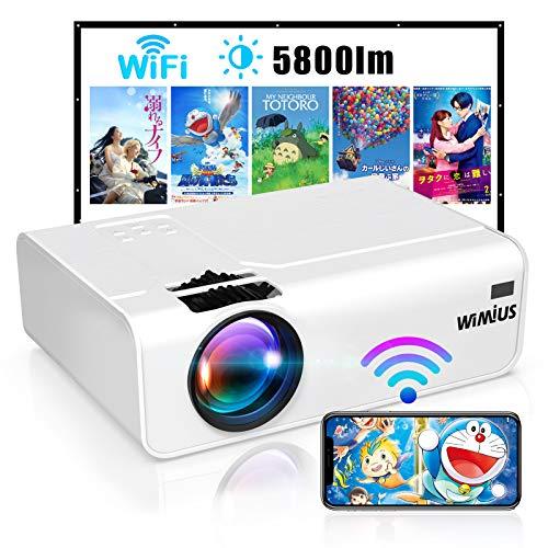 Proiettore WiFi, WiMiUS 5800 Mini Videoproiettore Portatile da Supporto 1080P Full HD HiFi Compatibile con Smartphone / PC / AV / TV Stick / PS4