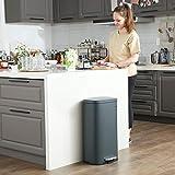 SONGMICS Mülleimer für die Küche, 30 L Abfalleimer mit Pedal, Treteimer mit Inneneimer aus Kunststoff, Klappdeckel, Softclose, geruchsdicht und hygienisch, rauchgrau LTB03GS - 2