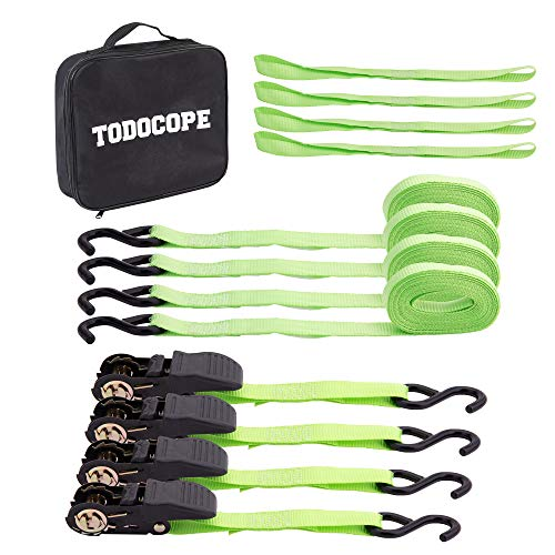 TODOCOPE 4-Pack Tie Down Straps, 500Lb Load Cap,1500Lb Break Strength, 4x15FT metal Ratchet Buckles straps, 4x S-Hook straps, 4x Soft Loop straps, 1 carring Case,for Cargo Boat Motorcycle Trucks