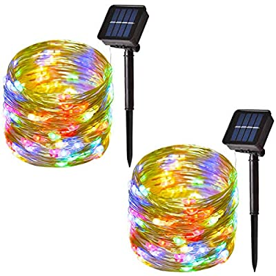 Solar String Lights Outdoor, 100-LED Solar Fairy Lights Waterproof Copper Wire String with 8-Modes, Decorative Lights for Party, Garden, Patio, Yard, Christmas (40ft, 2-Pack) (Multicolor)