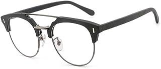 SGJFZD Men's Handmade Wood Grain Plate Nearsight Glasses Frame Vintage Imitation Wood Flat Light Glasses (Color : Black)