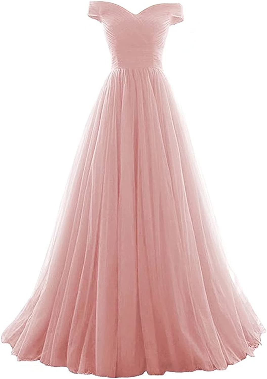 Awishwill Women's Off Shoulder Cap Sleeve Prom Dress Tulle V Neck Evening Formal Gown
