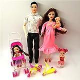XKMY Barbie Doll Toys Family 5 People Muñecas Trajes 1 Mamá/1 Papá/2 Kelly Girl/1 Baby Doll/1 Baby Carriage Muñeca Real Embarazada Regalos para Barbie (Color: Muñeca de moda 2)