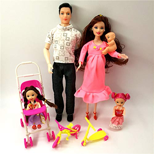 XKMY Barbie Doll Toys Family 5 People Muñecas Trajes 1 Mamá/1 Papá/2 Kelly Girl/1 Baby Doll/1 Baby Carriage Muñeca Real Embarazada Regalos para Barbie (Color: Muñeca de moda 2)