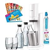 SodaStream Crystal 2.0 Wassersprudler-Set Promopack mit CO2-Zylinder, 2x Glaskaraffen, 2x Trinkgläsern, 6x Sirupproben, weiß
