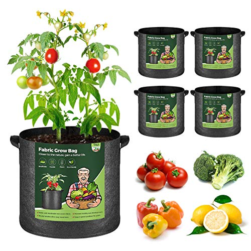 T4U 5 Stück 27L Pflanzsäcke aus Vliesstoff, 7 Gallonen Ф34cm Pflanztasche Pflanzgefäß mit Tragegriffe, Wiederverwendbar Pflanzbehälter Garten Wachsende Tasche für Kartoffeln Tomaten, Blumen