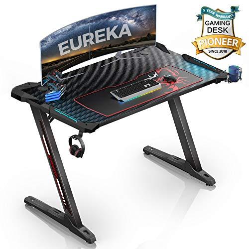 EUREKA ERGONOMIC Bureau Gaming Z1S Bureau Gamer (Classique) Bureau pour Gaming PC Informatique Table Desk avec LED Bleu Tapis Souris Porte Gobelet Support Casque Noir 44.5''