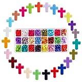 PandaHall Elite 1Caja 480Piezas Cuentas de acrílico para Joyas Collares Pulseras FAI Da Te, Cruz, Color Mixto, 16x 12x 4.5mm, Aprox. 20Pz/Comparato, Aprox. 480Piezas/Caja